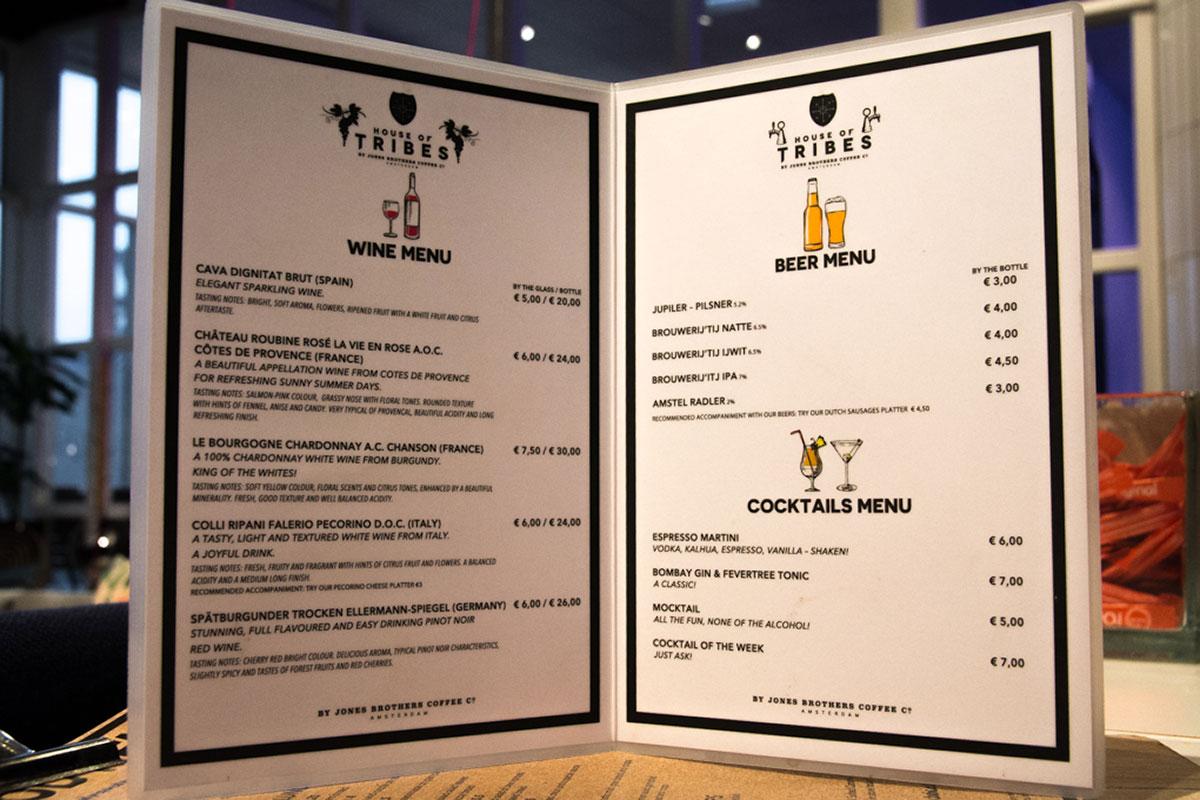 Wine & Beer menu