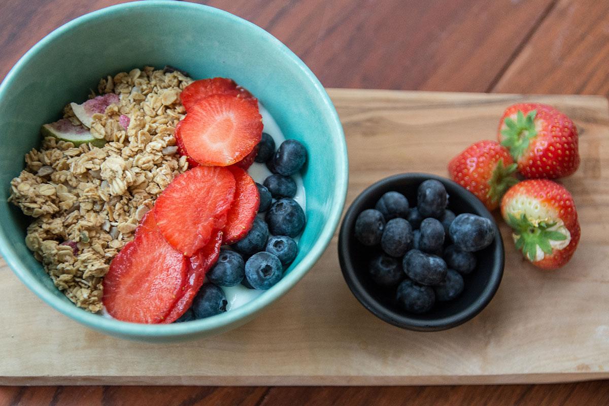 homemade granola with yoghurt and fruits